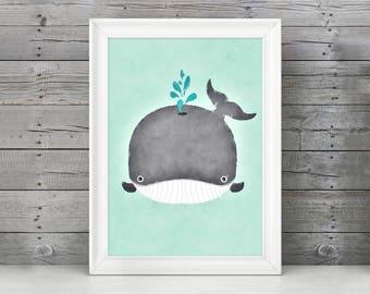Whale Nursery Print / Whale Watercolor / Whale Art / Whale Decor / Whale Nursery / Whale Nursery Decor / Whale Wall Art / Blue Whale Print