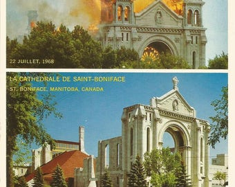 Vintage 1970s Postcard Cathedrale de Saint Boniface Manitoba MB Canada Fire Disaster Architecture Church Card Photochrome Postally Unused
