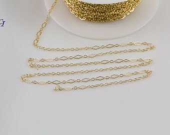 Brackets Chain, Gold Filled, Sterling Silver Chain by Foot, Layering, Modern, Simple Chain, Everyday Wear, Delicate, Dainty,SCNF118