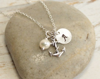 Sterling Silver Anchor Necklace with Birthstone and Initial -- Personalized --  Friendship