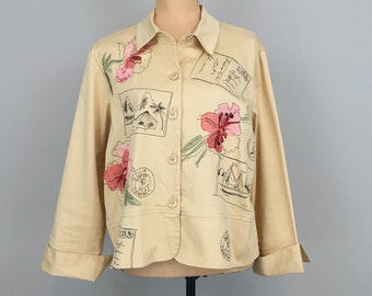 Hawaiian Clothing Luau Tropical Beach Vacation Clothing Travel Resort Clothing Size 12 Womens Jacket Embroidery Orchid Large Womens Clothing