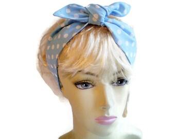 Light Blue White Polks Dot Head Scarf, Baby Blue Head Scarf, Blue Dot Head Scarf