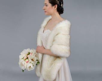 Ivory faux fur wrap bridal wrap faux fur shrug faux fur stole faux fur shawl faux fur cape B001