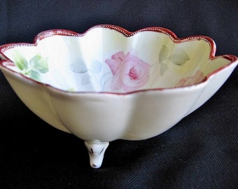 Vintage E-OH Nippon Porcelain Bowl Hand-painted Roses