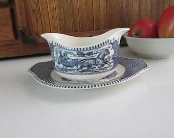 Currier and Ives Gravy Boat – 2 Spouted Boat (Sleigh Ride) with Matching Underplate (Old Oaken Bucket) - Blue & White - Royal China Co