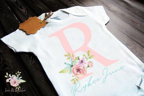 Personalized Onesie Floral Monogram Onesie Boho Baby