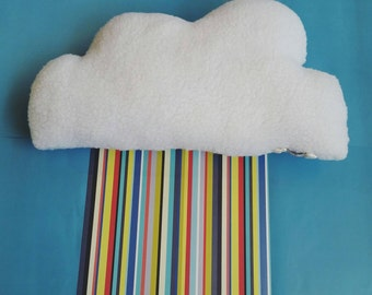 Cloud Shaped Cushion - Big Pillow. White and Fluffy. Poodle Fleece/Plush. Nursery Decor. Baby's room. Prop.
