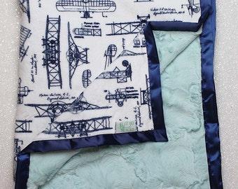 Minky Blanket | Aviator Blanket | Airplane Blanket | Airplane nursery | navy and aqua | Baby boy blanket | Navy and Grey | RKC aeroplanes |