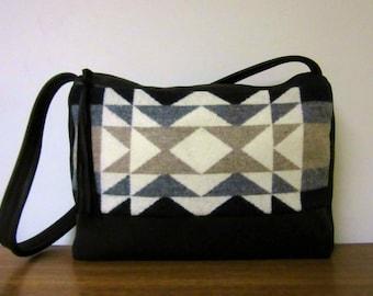 Shoulder Bag Purse Soft Black Leather Diamond Ridge Blanket Wool from Pendleton Oregon