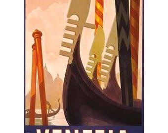 Venezia Travel Poster - Venice Italy Vintage Travel Print Art - Italian Home Decor - Gondola