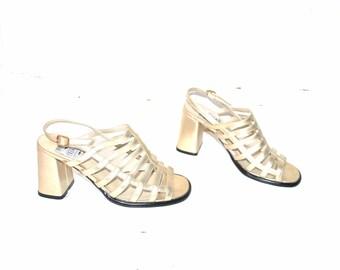 rose gold platform cage sandals 90s vintage metallic block heel club platforms size 7