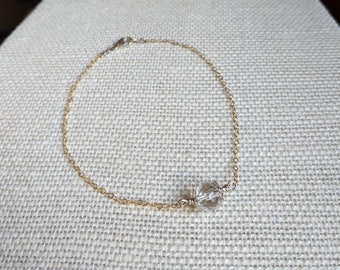 Hermosa Rock Quartz Focal Bead on Goldfill Chain Bracelet with Sterling Silver Closure