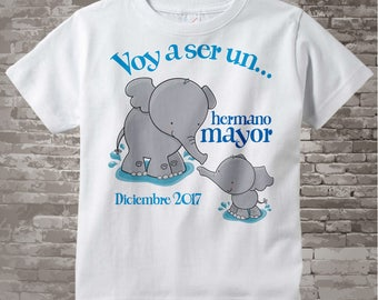 Spanish Big Brother Shirt Voy a ser un Hermano Mayor Elephant Tee Shirt or Big Brother Onesie Pregnancy Announcement 10102016c