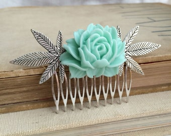 weed gift, stoner gift, hair clip,Marijuana hair accessory, stoner gift, wedding comb cannabis accessory weed  wholesale CABBAGE MINT SILVER