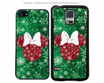 Disney Minnie Mouse Christmas Phone Case for Apple iPhone 7, 7 Plus, iPhone 8, Galaxy S8, S8 Plus, S7, S7 Edge, LG, Pixel, XL, Note 8