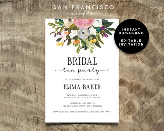 Bridal Shower Tea Etsy - Bridal tea party invitation template