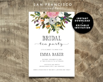 Bridal shower tea etsy bridal shower tea party invitation instant download editable bridal shower invite template diana collection filmwisefo Images