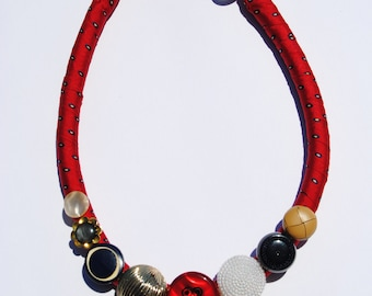 Statement necklace choker made of red silk lined rope and vintage buttons