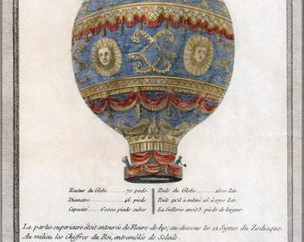 Poster, Many Sizes Available; Montgolfier Brothers Hot Air Balloon 1786 Depiction Of The Montgolfier Brothers' Historic Balloon With Enginee