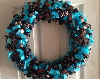 Ribbon wreath brown and turquoise, 18 in