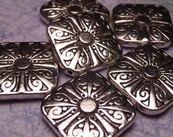 Silver Metal Square Beads 15mm - 2pc