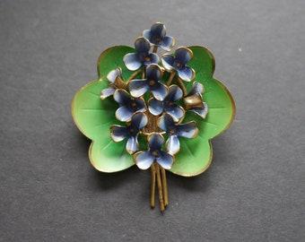 Painted enamel violets brooch