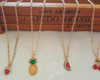 Fruit Necklaces, Pendant Pineapple, Watermelon, Cherry, Strawberry Necklaces, Kitsch Quirky Cute Pendant Necklace