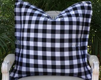 Black White Check Pillow Cover/ R Kaufman Checked Pillow Cover/ Buffalo Check Pillow/ Linen Designer Pillow Cover
