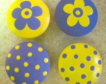 8 - PURPLE and YELLOW - Polka Dots & Flowers - Drawer Knobs / Pulls