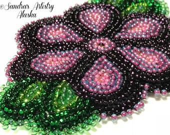 """Alaska Handmade Beaded Flower-Leaves-3x4"""" in Czech Glass Beads"""