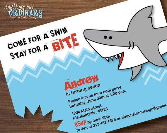 Well-liked Shark Birthday Invitations Printable Shark Invites Shark CP75