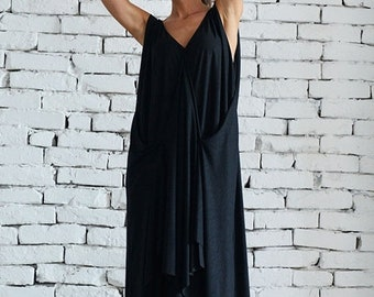 SALE Loose Maxi Black Dress/Oversize Draped Maxi Dress/Casual Asymmetric Dress/Long Black Summer Dress/Plus Size Tunic/Oversize Black Casual