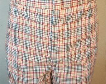 FREE  SHIPPING   1970 Men Plaid Bermuda Shorts