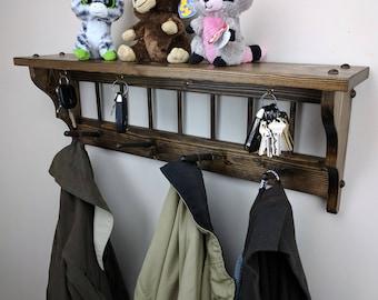 Mission Style Wall Shelf Coat Hook Rack Key Hook Bathroom