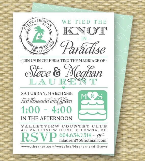 Destination Wedding Invitation Post Destination Wedding