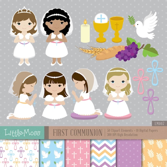 girl first communion digital clipart and papers communion rh etsy com First Communion Invitations First Holy Communion Clip Art