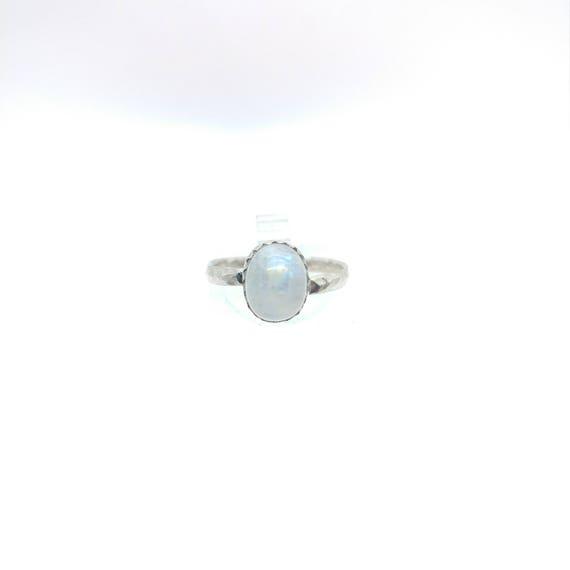 Simple Moonstone Ring   Rainbow Moonstone Ring   Sterling Silver Ring Sz 7   Simple White Ring   June Birthstone Ring   Blue Moonstone