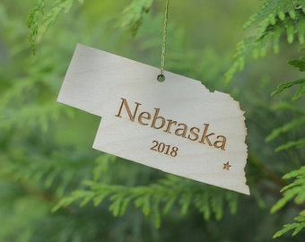 Natural Wood Nebraska State Ornament WITH 2018
