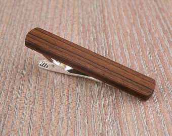 RoseWood Tie Clip. Slim 10.5 mm ties clip. Groomsmen Tie Clips. Monogrammed Tie Bar. Exotic Wood Tie Clip. Engraved Custom Tie Clip.