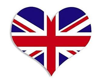 Heart Shaped UK Union Jack Flag Sticker