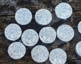 12mm Silver Ore Resin Druzy Cabochon