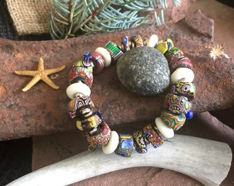 stretch bangle of millefiore beads