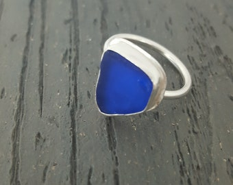 Sea Glass Ring Cobalt Blue Sea Glass Ring Cobalt Blue Sea Glass Jewelry Sterling Silver Ring Statement Ring Gift for Her Size 9 - R-195