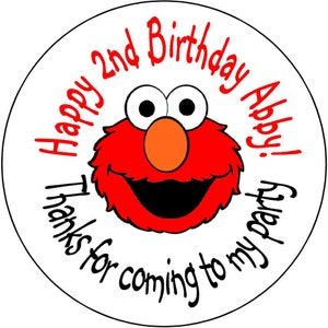 24 printed Elmo  Birthday Party Stickers 1.67 inch Round Personalized kids kids Loot Bag Stickers