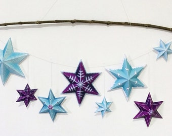 Stars garland, Instant download printable stars garland, Easy origami stars for party decorations or room decor.