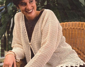 CROCHET  Lace Cardigan Womens Ladies Lace  Sweater Pattern -  PDF Download