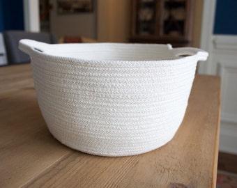 Cotton Rope Basket - Handles - Cream