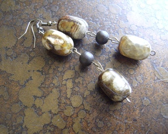 Into the Bush Jasper and Wood Beaded Dangle earrings