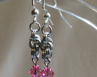 Double Spiral Chain Mail Earrings with Rose Swarovski Crystal