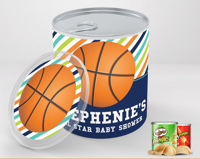 Basketball Baby Shower Mini Pringles Label - Mini Pringles Wrapper, Basketball Baby Shower | Editable Text - Instant Download PDF Printable